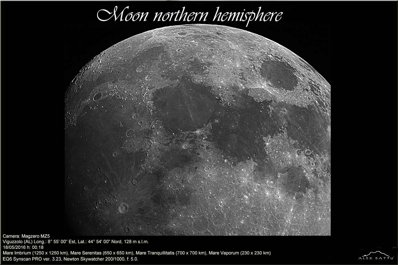 Emisfero nord lunare; moon northern hemisphere; astronomia; astrofotografia; astronomy; astrophotography